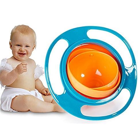 Itian Funny Toy Baby Training Tableware Bol de gyroscope antidérapant à rotation 360 degrés, bleu + orange