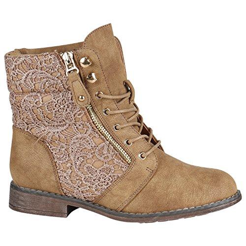 Gefütterte Damen Stiefeletten Worker Boots Zipper Schnürstiefel Schuhe 148836 Khaki Spitze 40 EU Flandell