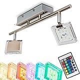 LED Deckenstrahler 2-flammig - Parnu - Deckenleuchte mit Farbwechsler und Fernbedienung - RGB LED Zimmerlampe mit Lichteffekte für Wohnzimmer - 3000 Kelvin - 2 x 320 Lumen