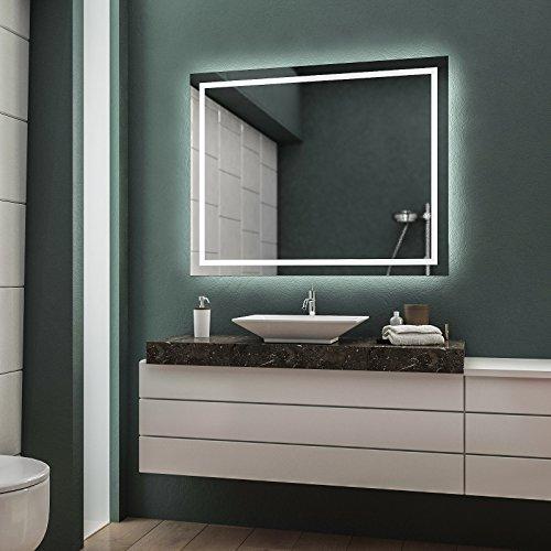 LED Badspiegel Badezimmerspiegel Wandspiegel Bad Spiegel - Warmweiß 60 cm Breit x 80 cm Hoch Allegro Licht umlaufend