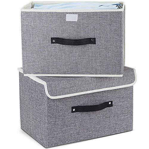 EZ GENERATION Aufbewahrungsboxen 2er-Set, Faltbare Aufbewahrungskörbe aus Baumwollgewebe mit Deckel und Griffen für Bücher Spielzeug DVDs Kunst und Handwerk Waschen Wäscherei Organisation (Hellgrau)