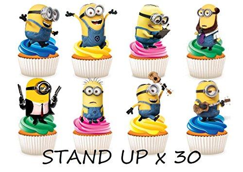 30x Minions Party Stand up Essbare Papier Cupcake Topper Kuchen Dekorationen