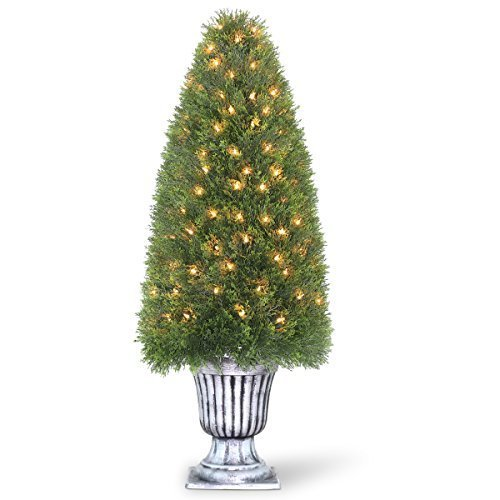 National Tree LCY4-302-48 Upright Juniper Tree in a Silver Urn with 150-Clear Lights, 48-Inch by National Tree Company -