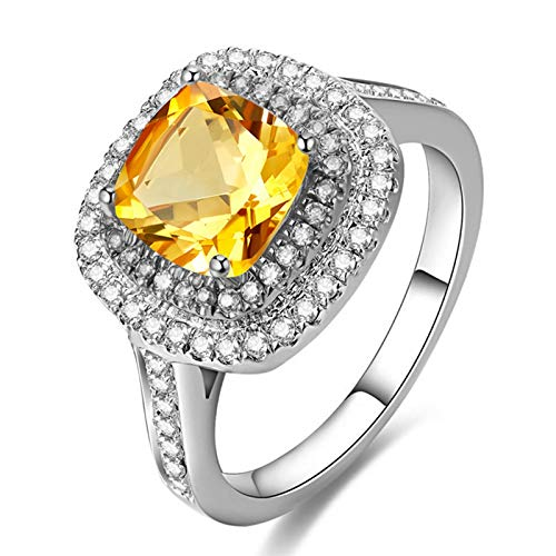 Epinki argento 925 anelli piazza anelli impegno brillante anelli matrimonio argento con giallo citrino taglia 6,75-a2070