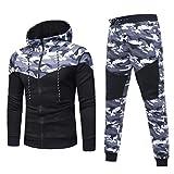 Kapuzenpullover herren,YULAND MäNner-Herbst-Winter Camouflage-Sweatshirt Top-Hose Wird Sport-Anzug Trainingsanzug (Schwarz, XL)