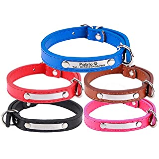 aplusashop ID Faux Leather Collar with Stainless Steel Plate and Engraving as Desired for Dogs/Cats S, M, L, XL Black