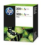 HP 300XL Multipack Original Druckerpatronen mit hoher Reichweite (2x Farbe) für HP Deskjet, HP ENVY, HP Photosmart