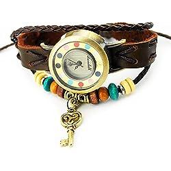 Armbanduhren Quarz Analog Keine Ziffern - Farbe Leder Modeschmuck Uhr Damen rund Schlüssel Moli 3 Braun Geschenk Damen
