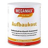 MEGAMAX Aufbaukost Erdbeere 1.5 kg | Ideal zur Kräftigung und bei Untergewicht | Proteinpulver zur Zubereitung eines fettarmen Kohlenhydrat-Eiweiß-Getränkes für Muskelmasse & Muskelaufbau Gewichtszunahme