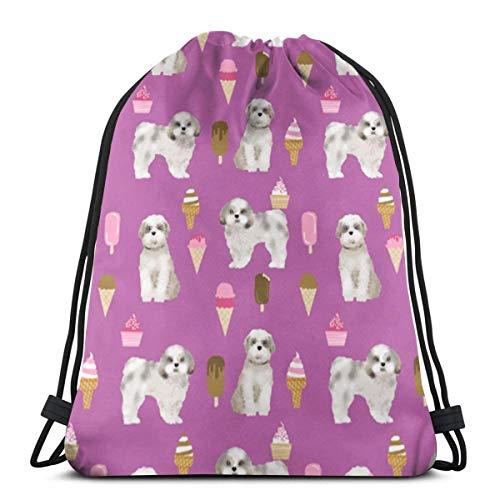Integrity merchant Shih Tzu Pizza Peach Food Dog Breeds Dog Breed Design Shih Tzu 29566 3D Print Drawstring Backpack Rucksack Shoulder Bags Gym Bag for Adult 16.9