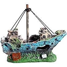 UEETEK Barco Acuario, barco Corsair Barco a vela hundido para decoración de acuarios, ideal