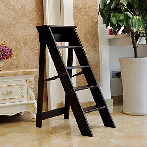 PENGFEI Pliable Stool Ladder Multifonction Usage Double 3/5 Étapes Bois Massif 3 Couleurs, 2 Tailles (Couleur : Dark walnut, taille : 38 * 52 * 88CM)