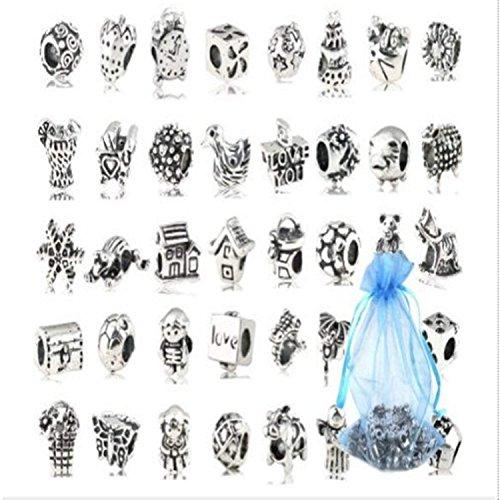 Kiv hwiionne argento bracciali in vetro murano vetro perline (40pcs)