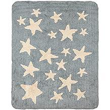 Alfombra infantil lavable de algodón verde grisácea con estrellas blanco roto 120x160