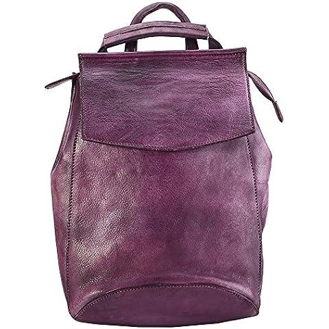 Zaino in spalle, in pelle pieno fiore Bvane spalle borsa zaino zainetto 150224 - Tri Fold Zaino