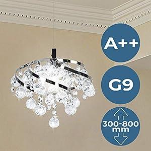 Kristall Deckenleuchte - EEK: A++ bis E, Ø25cm, für G9, Rund, Modern - Kronleuchter, Deckenlampe, Kristallbehang, Anhänger, Kristallkronleuchter - für Wohnzimmer, Esszimmer, Schlafzimmer, Küche