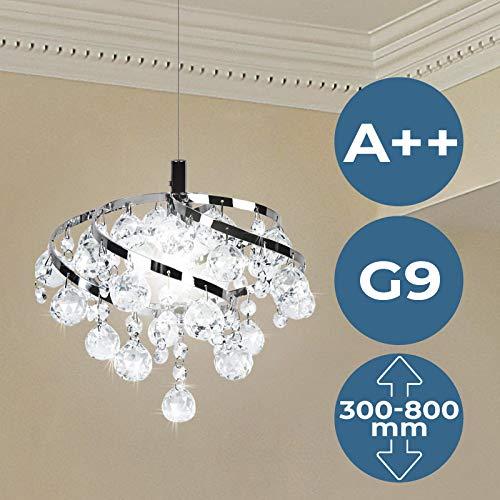 Kristall Deckenleuchte | EEK: A++, Ø25cm, für G9, Rund, Modern | Kronleuchter, Deckenlampe, Kristallbehang, Anhänger, Kristallkronleuchter | für Wohnzimmer, Esszimmer, Schlafzimmer, Treppenhaus, Küche