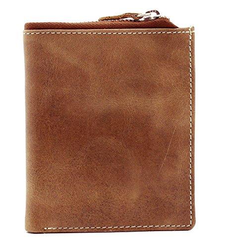 Topsum® London RFID Porte-Monnaie En Cuir Marron Doux, Affligé En Cuir De Chasseur, Portefeuille En Forme De Bi-Pli Avec Poche Zippée Longue #4018 Brown Hunter