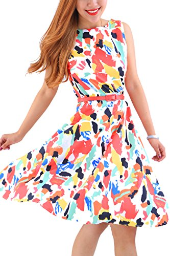 YMING Damen Sommerkleid 50er Partykleid Ohne Arm Swing Kleid Blumendruck Sommerkleid,Bunt,XL (Wohnungen Kleid Schuhe)