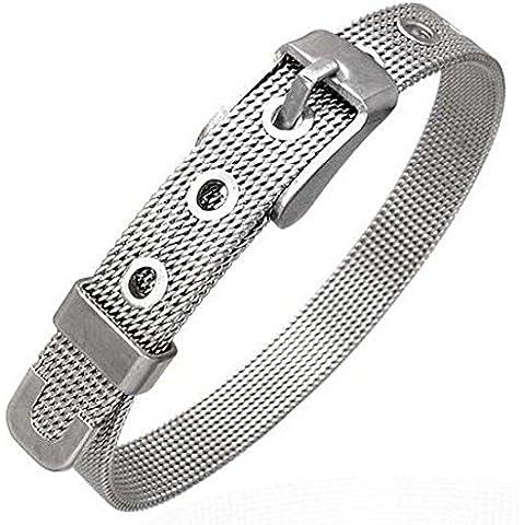 Acciaio inossidabile Argento Mesh cintura fibbia regolabile bracciale da donna
