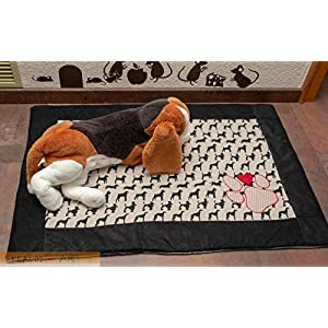 Hundedecke Decke mit lustigen Hundemotiven auf Canvas und Antirutsch-Rückseite