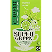 Clipper Organic Super Green Detox (Elderflower, Nettle, Fennel & Citrus) Teabags (Pack of 4, Total 80)