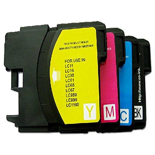 Preisvergleich Produktbild TIAN - 4 Tintenpatronen für Brother LC980 LC1100 Drucker Tintenpatronen kompatibel mit Brother Dcp-145 C Dcp-165 C Dcp-195 C Dcp-365Cn etc..