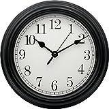 Horloge Murale Ronde - Pendule Quartz Haute Précision - avec Tic Tac - Cuisine Salon Salle de Bain - Diamètre 22 cm - Noire