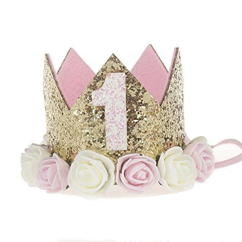 JMITHA Baby Krone Haarband Stirnbänder Baby Mädchen Kids Turban Haarband Stirnband Kopfband Baby schmuck Babyschmuck Babygeschenke & Taufe 1 Jahre alt Geburtstag (Gold-1)