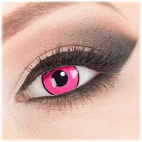 Farbige rosa Crazy Fun Kontaktlinsen 1 Paar 'Rose Shock' mit Kombilösung (60ml) + Behälter - Topqualität von 'Evil Lens' zu Fasching Karneval Halloween ohne Stärke