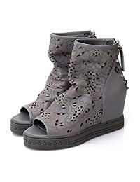 Verano zapatos nueva primera capa de peces de cuero boca cuesta con sandalias casuales , grey , 7