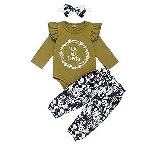 Borlai Conjunto de Traje de Moda Infantil de 3 Piezas Mono Lindo + Pantalones Florales + Diadema 0-24 m 10