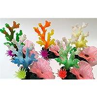 Komener Aquarium Ornament Planta Suave del Ornamento Coralino del Acuario del silicón fijada para la decoración del Paisaje del Acuario