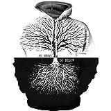 Ywfzzxs Unisex 3D Hoodies Baumwurzel Hd 3D Gedruckt Sweatshirts Langarm Große Taschen Fleece Pullover Atmungsaktiv XXL