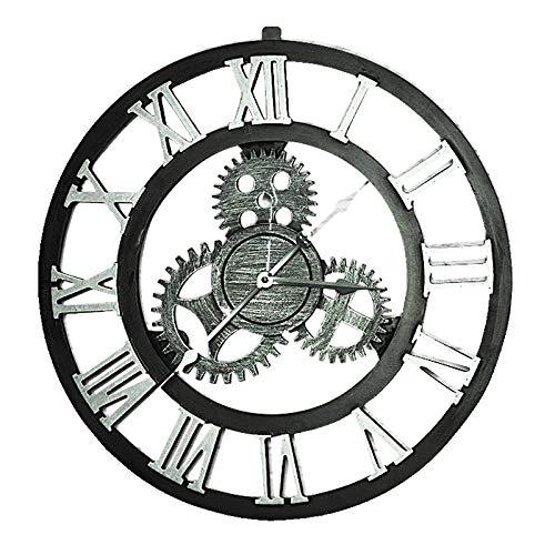 Everyday home Vintage vent industriel vitesse fait main muet horloge murale créative décoration de la maison café décoration de la personnalité. (Couleur : Silver, MODÈLE : Arabic number)