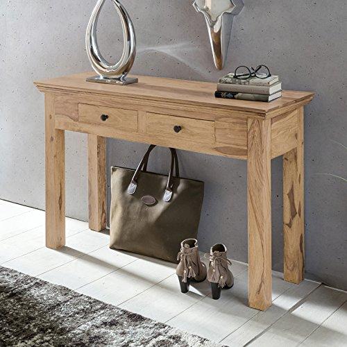 FineBuy Konsolentisch Massivholz Akazie Konsole mit 2 Schubladen Schreibtisch Landhaus-Stil Sideboard Massiv