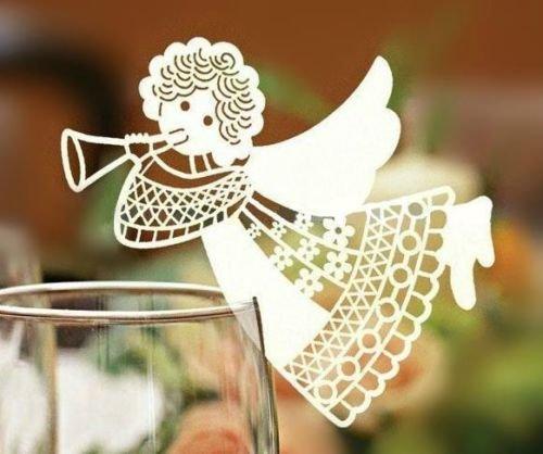 50pz angelo bomboniere segnaposto segnabicchieri segnatavolo carta bianca perlata battesimo cresima compleanno