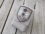 zigbaxx Zigarettenetui LIONCEL Zigarettenhülle für Zigarettenschachtel 20 Zigaretten/Täschchen aus Nubuk-Leder mit gesticktem Wappen, sand-beige