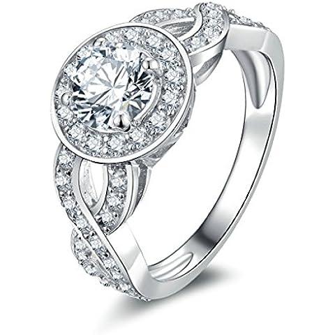 (Personalizzati Anelli)Adisaer Anelli Donna Argento 925 Anello Fidanzamento Incisione Gratuita Ovale Doppio Anello Diamante Twist Infinity