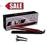 Wazor S008 Ceramic Tourmaline Hair Straightener 1 Inch 3D Floating Flat Iron Digital LED Temperature Display Auto Shut off UK Plug