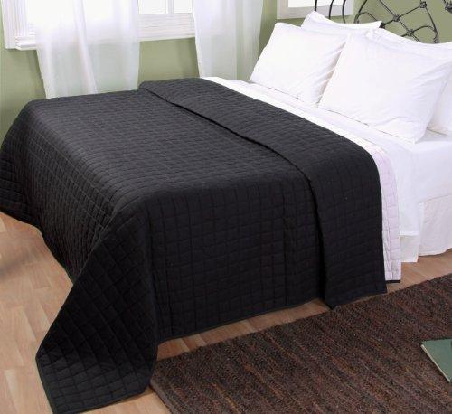 Homescapes waschbare Wende Tagesdecke Bettüberwurf Plaid mit Karo-Steppung, 230 x 250 cm