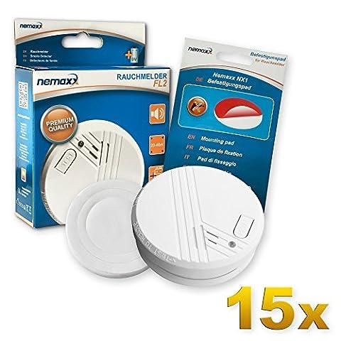 15x Nemaxx FL2 Rauchmelder - hochwertiger Rauchwarnmelder nach EN 14604