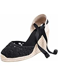 Womens Summer Classical Wedges Heel Ankle Wrap Lace Flower Espadrilles with Cap Toe