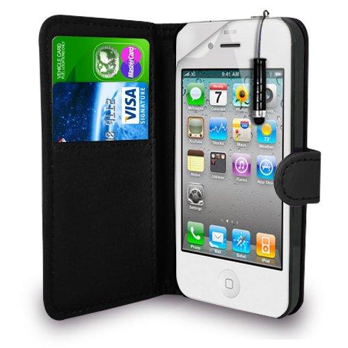 Apple iPhone 4S / 4G / 4 - Leder Geldbörse Flip Hülle Tasche + Mini Stylus Pen + Display Schutzfolie & Poliertuch (Schwarz)