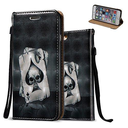 iPhone 7 Lederhülle,iPhone 7 Schutztasche, Aeeque® [Schön Engels Mädchen Motiv] 3D Modisch Design Ständer Unsichtbar Magnet und Weich Silikon Innere Bumper Praktische Handschlaufe Wallet Case Cover Hü Bild Poker Schädel
