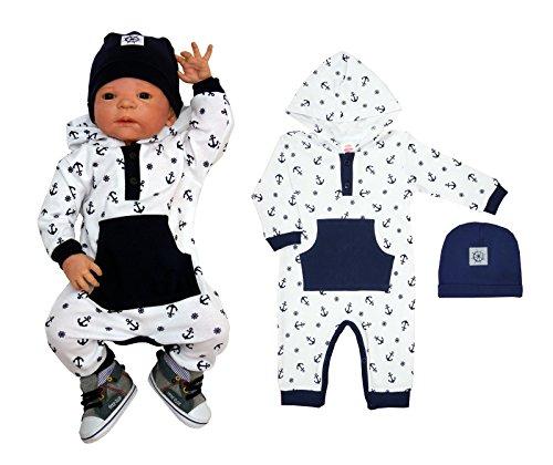 1 oder 2-tlg. Baby Strampler mit Kapuze und Mütze Sommeroverall Navigator Größe 56-74 (56)