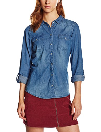 ONLY 15109179-Camicia  donne,    Blu (Dark Blue Denim) 42 (dimensioni produttore: 42)
