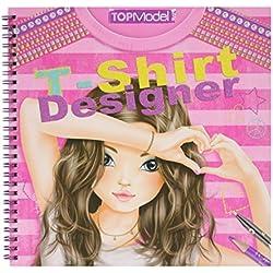 Depesche 7874 - Libro para colorear de diseños de camisetas para modelo - Top model t-shirt designer