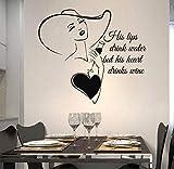 Adesivo Da Cucina Amore Le Sue Labbra Bevono Acqua, Ma Il Suo Cuore Beve Cucina Del Vino Adesivo In Vinile Regalo Speciale Per Moglie 65 * 57Cm