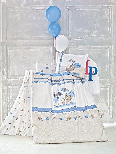Preisvergleich Produktbild Kinderbettwäsche 100x135 Bettgarnitur Baby Bettwäsche 2 tlg. Bettset 100% Baumwolle - Escape Weiß Beige Blau Jungen